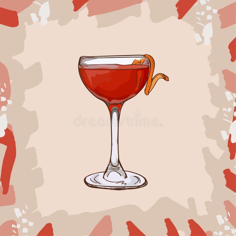 Иллюстрация коктейля железы обезьяны Вектор спиртной классической руки напитка бара вычерченный Искусство шипучки бесплатная иллюстрация
