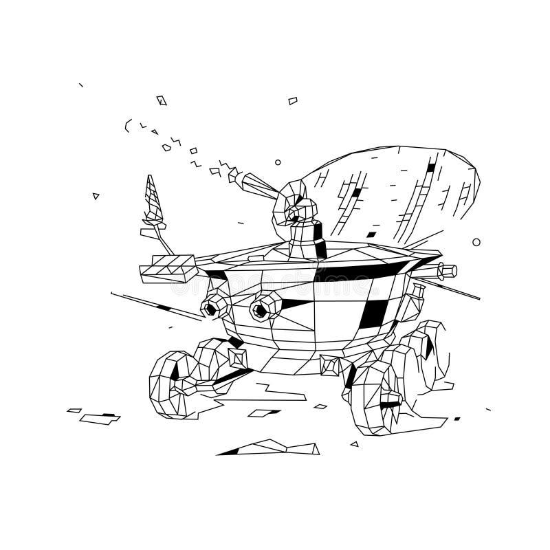 Иллюстрация контура вездехода луны вектор плоский стиль плана Советский лунный исследователь вездехода луны Низкий поли метод бесплатная иллюстрация