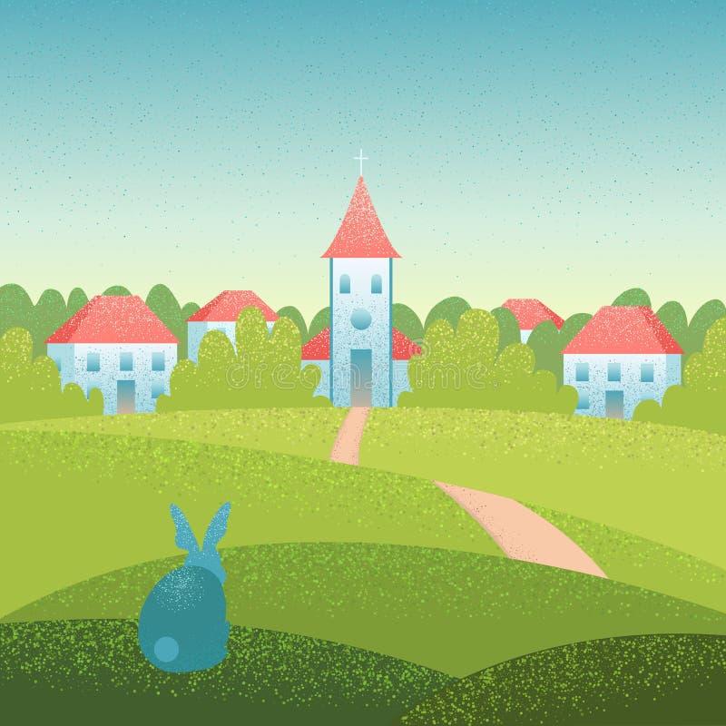 Иллюстрация ландшафта вектора пасхи с церковью и кроликом бесплатная иллюстрация