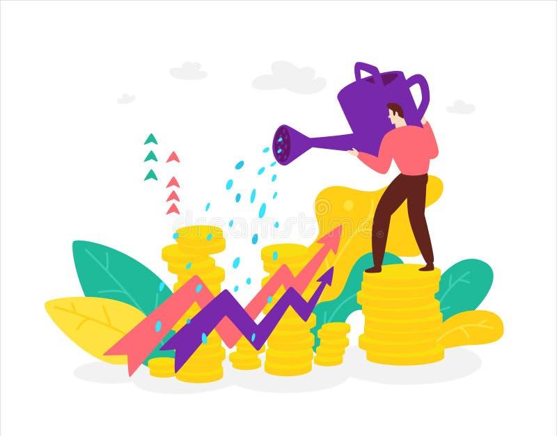 Иллюстрация маклера финансиста с моча консервной банкой которая наблюдает рост запасов и преимуществ вектор Плоский стиль _ иллюстрация вектора