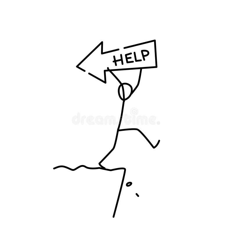 Иллюстрация маленького человека идя к хляби вектор животная помощь Путь к нигде, опасности близко метафора линейный стиль бесплатная иллюстрация