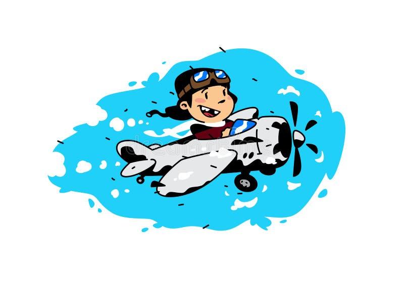 Иллюстрация мальчика мультфильма летая в плоскости среди облаков также вектор иллюстрации притяжки corel Изображение изолировано  иллюстрация вектора