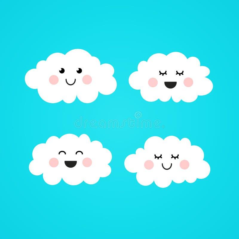 Иллюстрация милое Kawaii вектора соединяет усмехаясь облако бесплатная иллюстрация