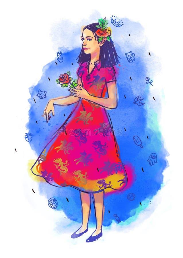 Иллюстрация милой девушки Покрашенная девушка акварели милая Изображение изолировано на белой предпосылке Девушка для открытки, иллюстрация штока