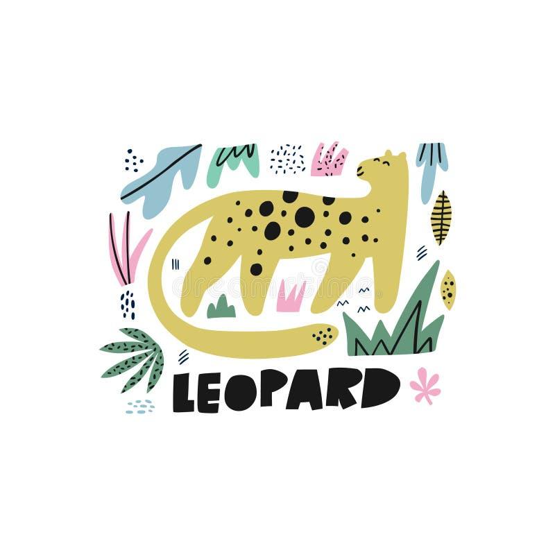 Иллюстрация милой руки леопарда плоской вычерченная иллюстрация штока