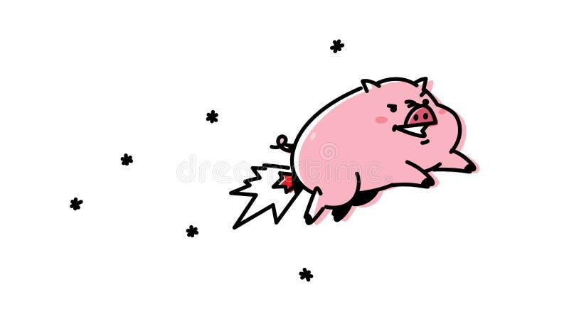 Иллюстрация мультфильма летая свиньи вектор Плоский стиль Милая свинья, талисман компании Ракета свинины Характер для иллюстрация вектора
