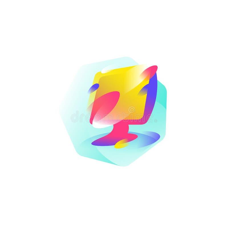 Иллюстрация монитора зацепляет икону Монитор LCD цвета Изображение изолировано на белой предпосылке Сформируйте стиль Значок для  иллюстрация штока