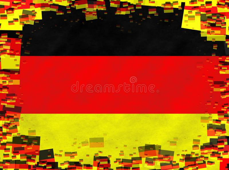 Иллюстрация немецкого флага с рамкой небольших флагов иллюстрация вектора
