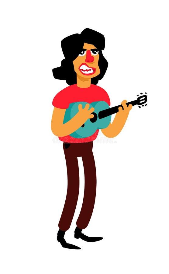 Иллюстрация певицы с гитарой вектор Смешной характер Человек мультфильма поет красивые песни Латино-американский совершитель музы иллюстрация вектора
