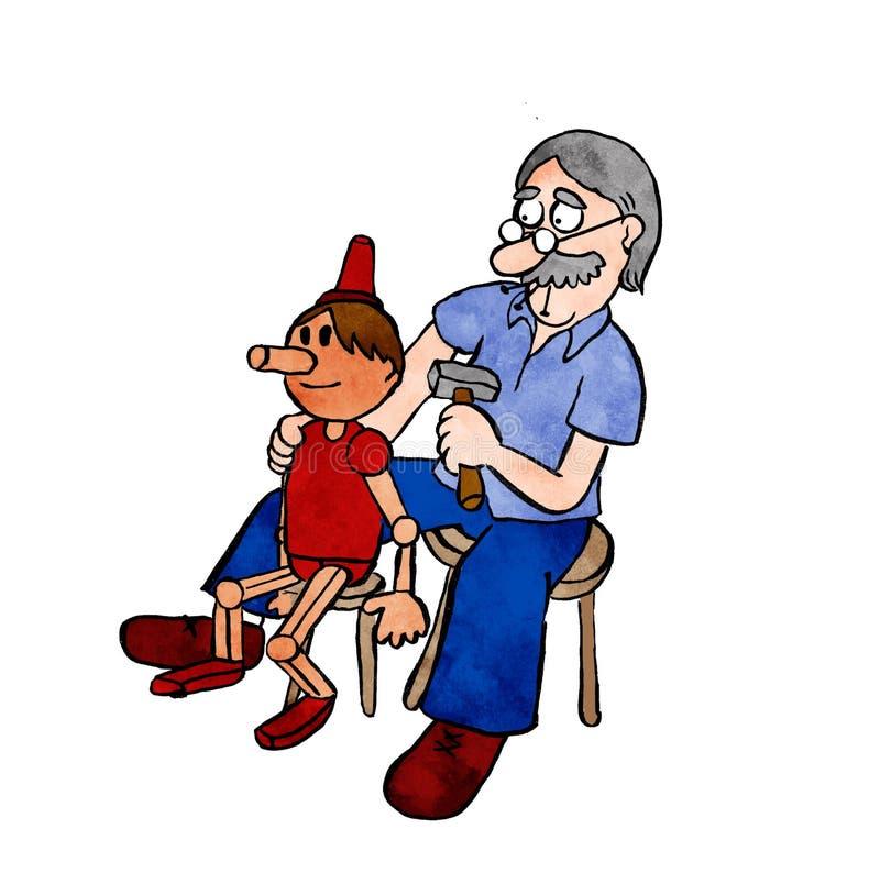Иллюстрация плотника который создал Pinocho стоковые фото
