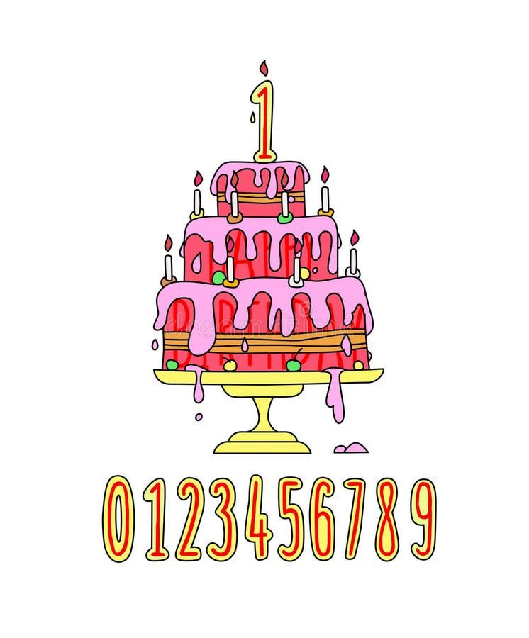 Иллюстрация праздничного розового торта сливк вектор Свеча нумерует стиль мультфильма Набор украшений дня рождения смешное изобра иллюстрация вектора