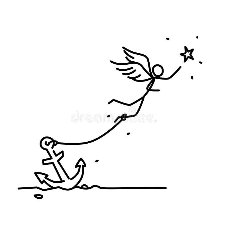 Иллюстрация прикованного летания ангела за звездой вектор Человек с крыльями прикованными к анкеру Иллюстрация для анимации, иллюстрация вектора