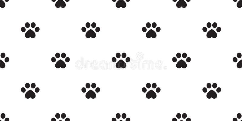 Иллюстрация повторения предпосылки плитки щенка котенка Валентайн сердца картины следа ноги вектора лапки собаки безшовными изоли иллюстрация вектора