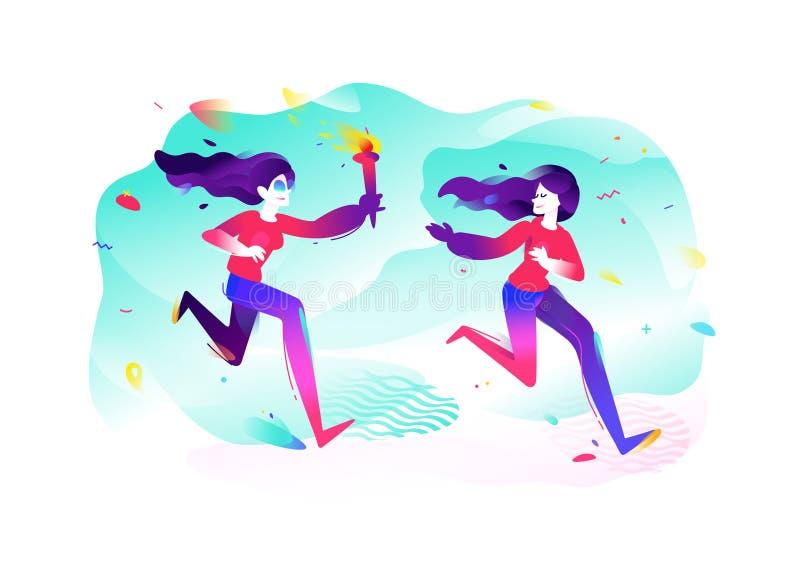 Иллюстрация девушек с факелом бежать девушок Иллюстрация вектора плоская Иллюстрация для знамени и печати Изображение изолировано иллюстрация вектора