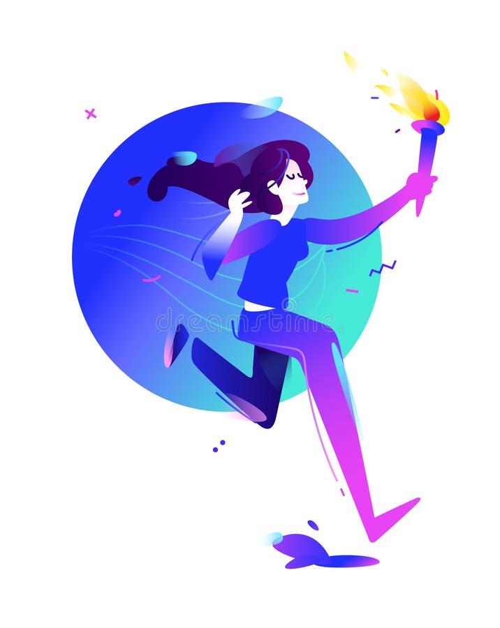 Иллюстрация девушки с факелом Идущая девушка Иллюстрация вектора плоская Иллюстрация для знамени и печати Изображение изолировано бесплатная иллюстрация