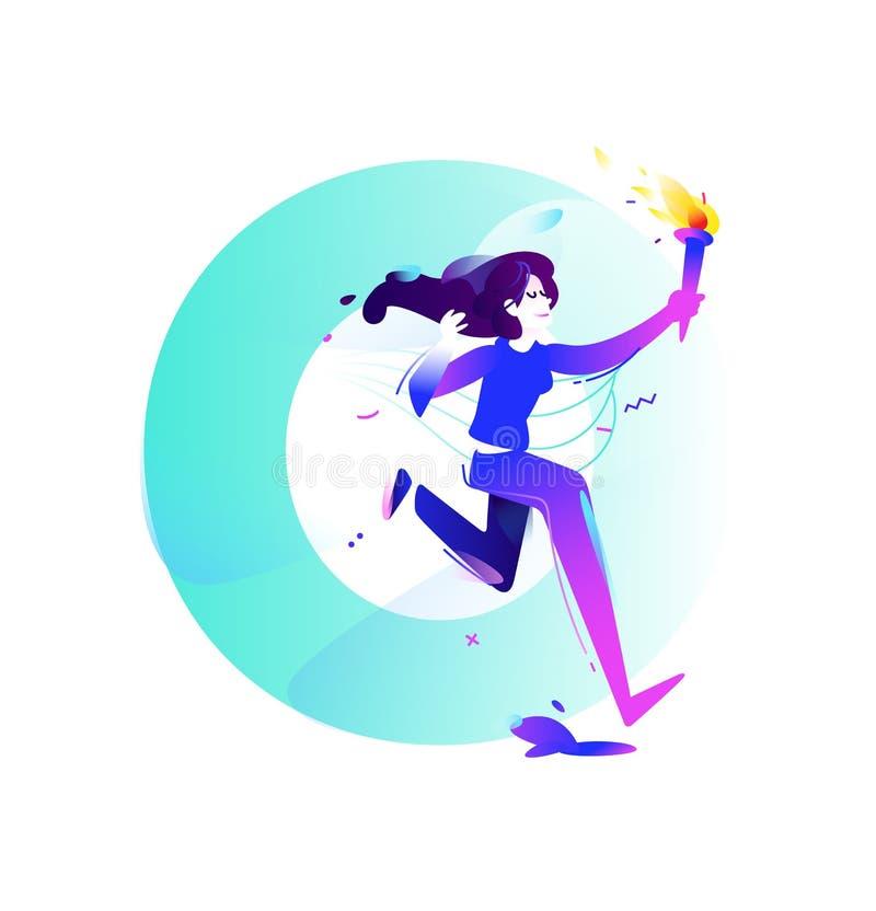 Иллюстрация девушки с факелом Идущая девушка Иллюстрация вектора плоская Иллюстрация для знамени и печати Изображение изолировано иллюстрация штока