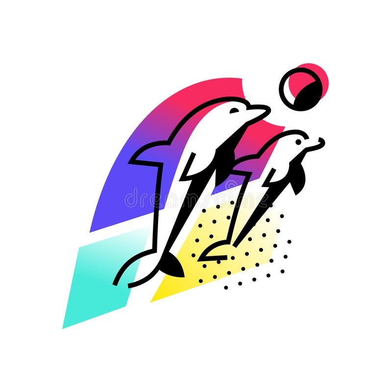 Иллюстрация дельфинов океаном зацепляет икону Изображение изолировано на белой предпосылке 2 дельфина играют около пляжа иллюстрация вектора