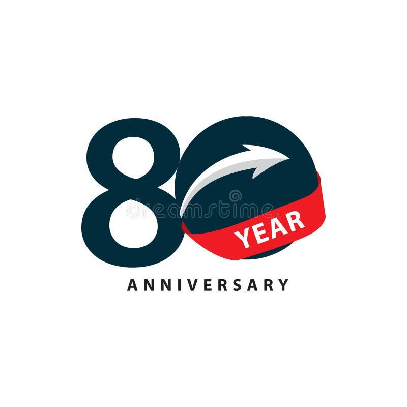 Иллюстрация дизайна шаблона вектора годовщины 80 год иллюстрация штока