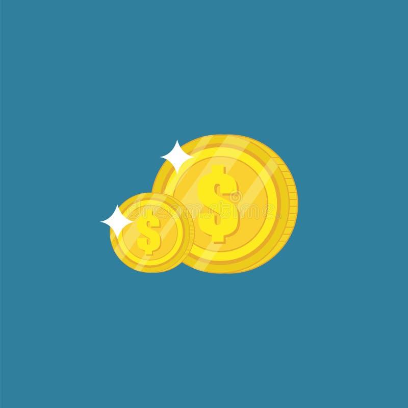 Иллюстрация дизайна шаблона вектора монетки денег равновеликая иллюстрация вектора