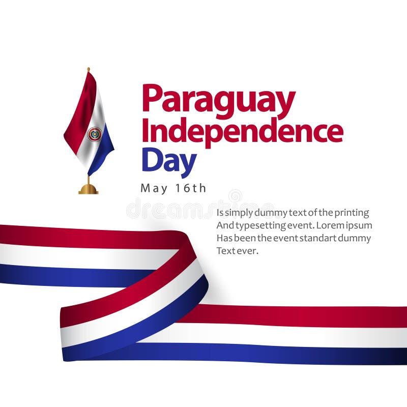 Иллюстрация дизайна шаблона вектора флага Дня независимости Парагвая иллюстрация вектора