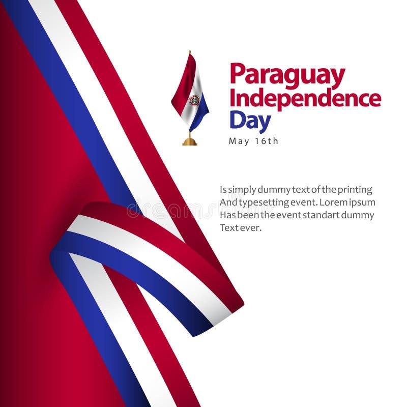 Иллюстрация дизайна шаблона вектора флага Дня независимости Парагвая бесплатная иллюстрация