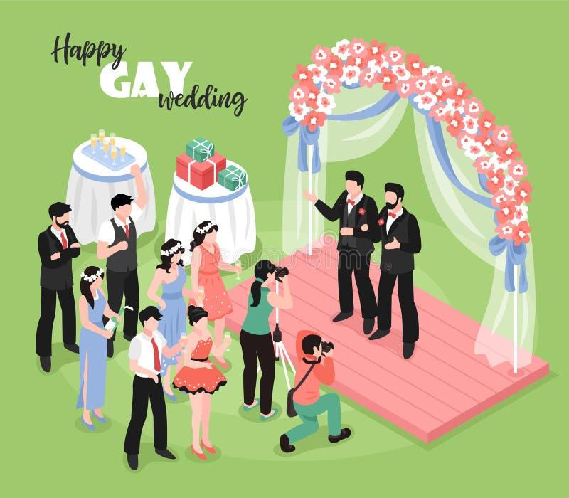 Иллюстрация свадьбы гея равновеликая бесплатная иллюстрация