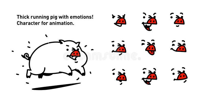 Иллюстрация свиньи шаржа вектор плоский стиль плана Для истинных знатков анимации Бег жирный меньшая свинина Комплект  иллюстрация вектора