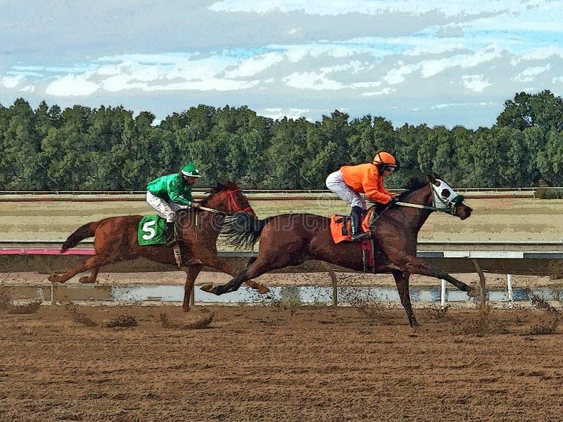 Иллюстрация 2 скаковых лошадей на прямом прочь иллюстрация штока