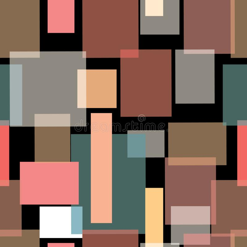 Иллюстрация стилизованных, наслоенных прямоугольников и шотландок иллюстрация штока