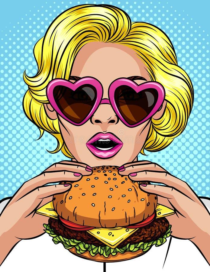 Иллюстрация стиля искусства попа цвета вектора шуточная девушки есть cheeseburger Красивая бизнес-леди держа большой гамбургер S иллюстрация вектора