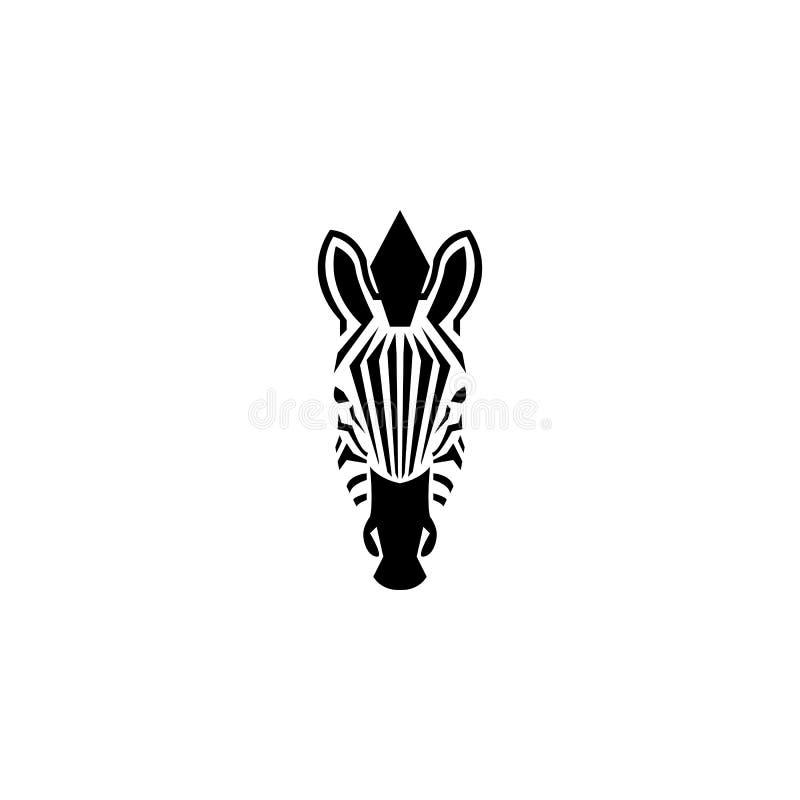 Иллюстрация стиля космоса главного логотипа зебры отрицательная Портрет зебры силуэта вида спереди африканский striped черно-бела иллюстрация штока
