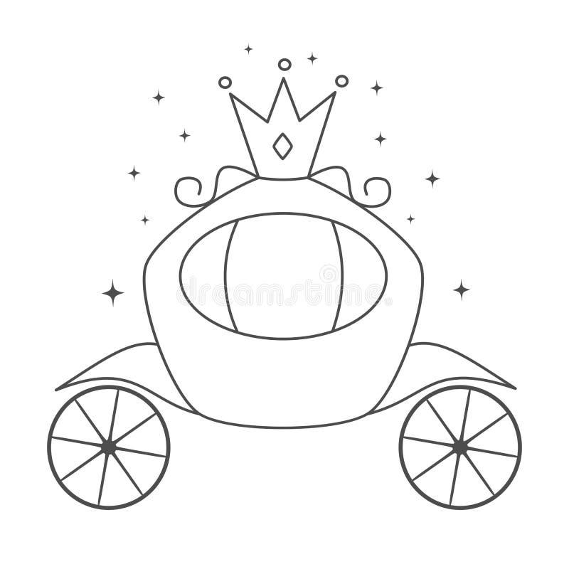 Иллюстрация экипажа милого вектора мультфильма черно-белая королевская для крася искусства иллюстрация вектора