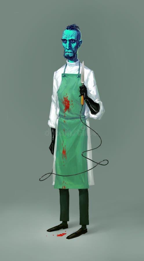 Иллюстрация ученого мультфильма, профессор Доктора эскиза концепции для фильма Патологоанатом от морга характер милый иллюстрация штока