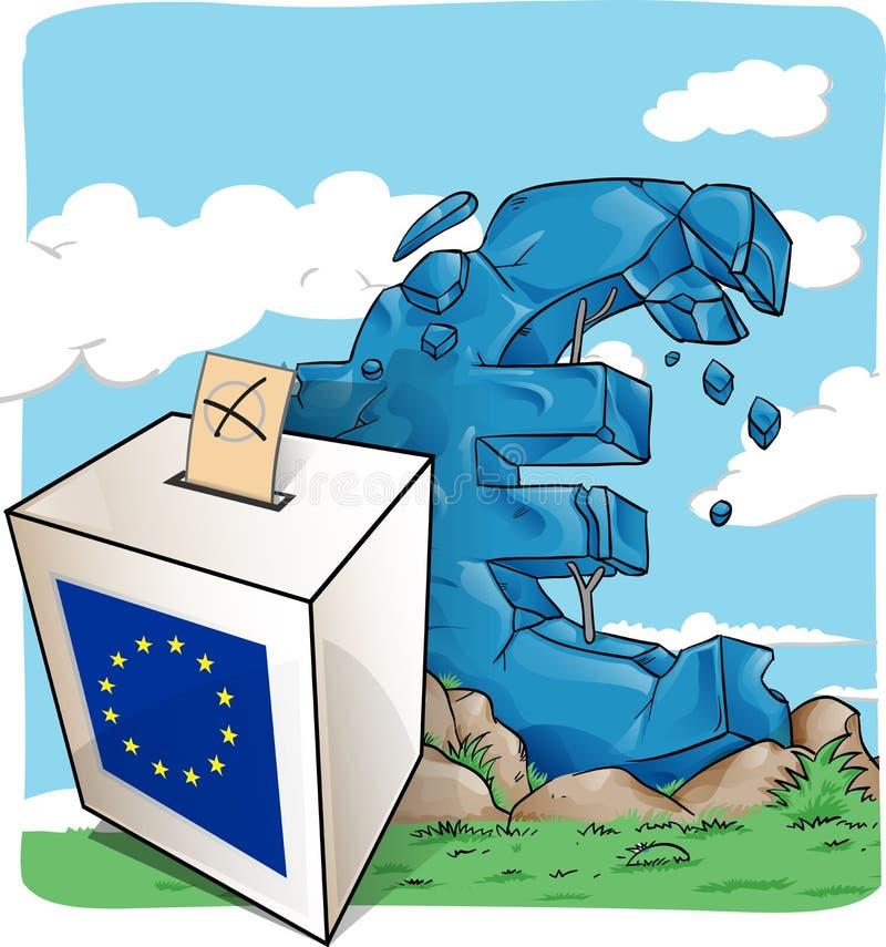 Иллюстрация урны для избирательных бюллетеней на символе евро иллюстрация вектора