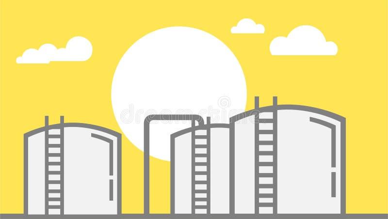 Иллюстрация фермы бака для хранения нефти с Солнцем и облака на желтой предпосылке - иллюстрации вектора иллюстрация штока