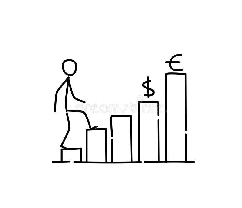 Иллюстрация финансового вклада роста вектор Выдвижение карьеры метафора линейный стиль Иллюстрация для вебсайта или бесплатная иллюстрация