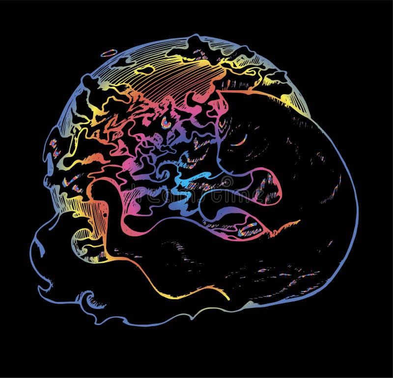 Иллюстрация цвета кота обнимая планету Кот с закрытыми глазами и облаками идея татуировки иллюстрация штока