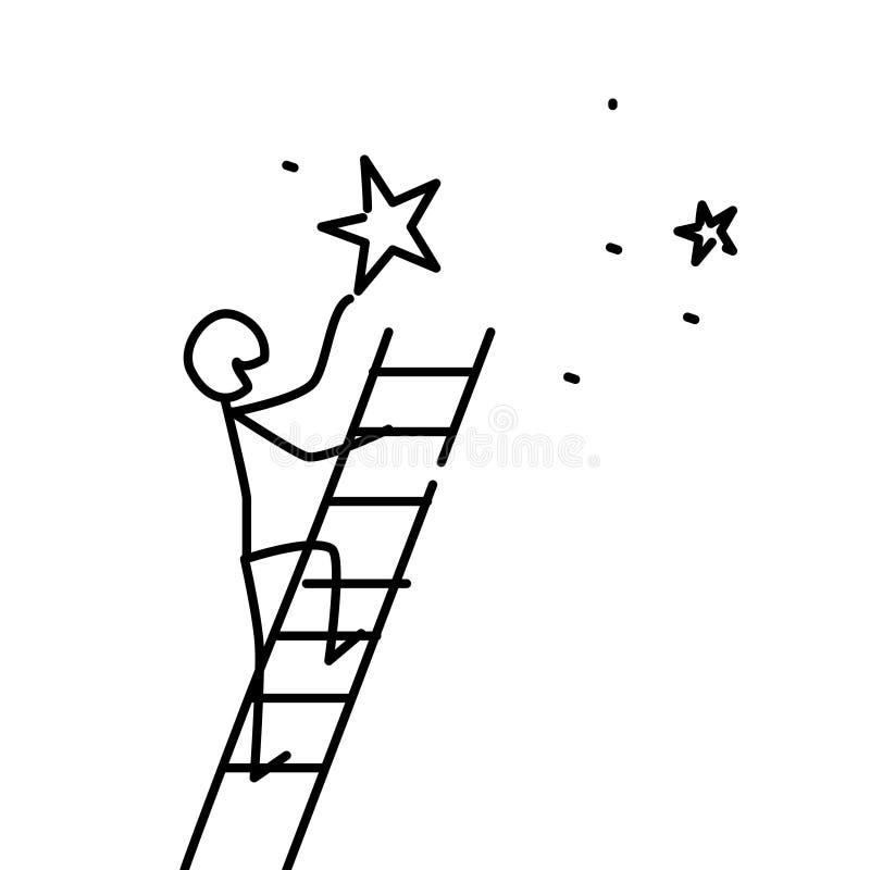 Иллюстрация человека получила звезду вектор приходят сновидения истинные метафора линейный стиль Иллюстрация для вебсайта или пре иллюстрация вектора