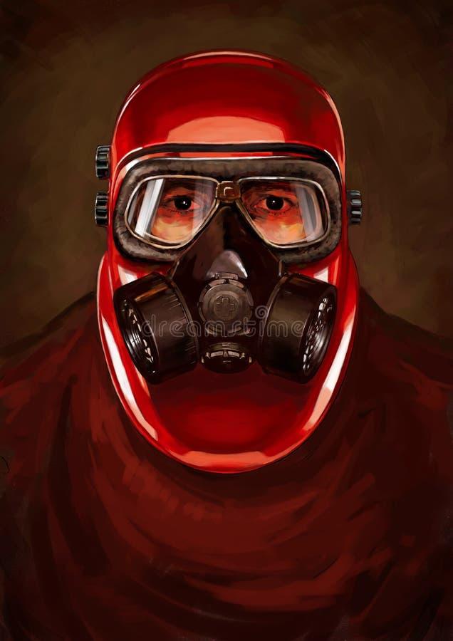 Иллюстрация характера пост-апокалипсиса Сталкер в resperator Концепция бесплатная иллюстрация