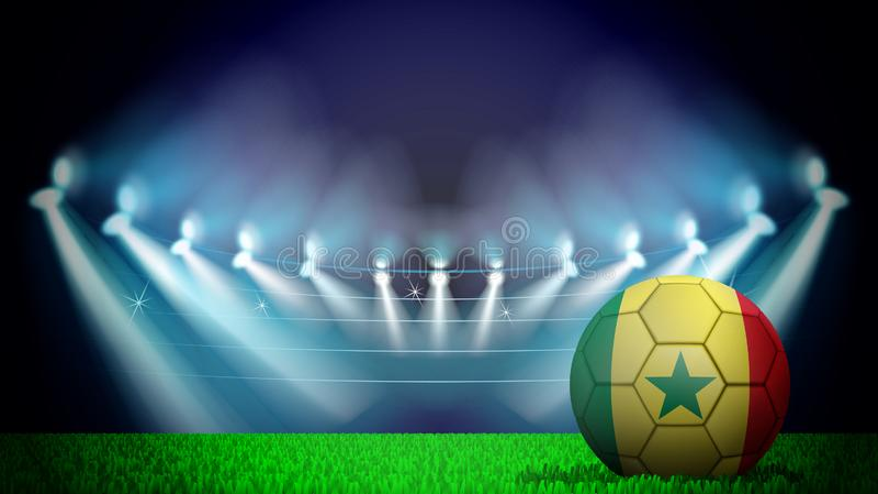 иллюстрация реалистического футбольного мяча покрашенная в национальном флаге Sinegla на освещенном стадионе Вектор можно использ иллюстрация штока