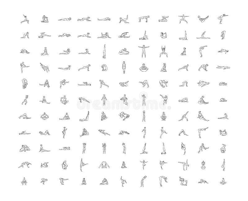 Иллюстрация руки вектора вычерченная иллюстрации значков йоги на белой предпосылке иллюстрация штока