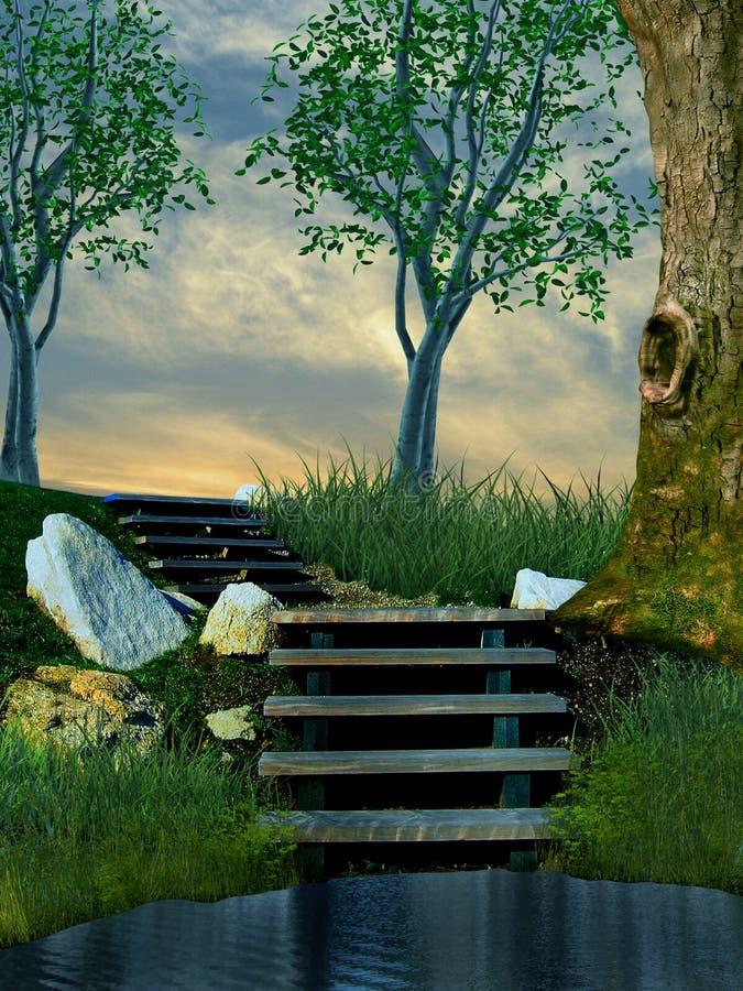иллюстрация 3D каменных лестниц в природе с деревьями и траве водя где-то иллюстрация вектора