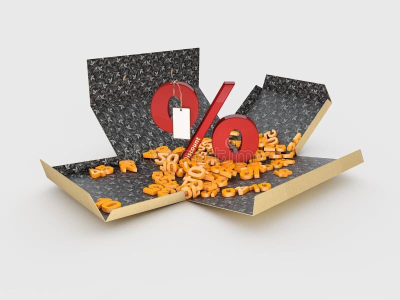 иллюстрация 3d картонной коробки Open со знаком процентов на белой предпосылке иллюстрация вектора