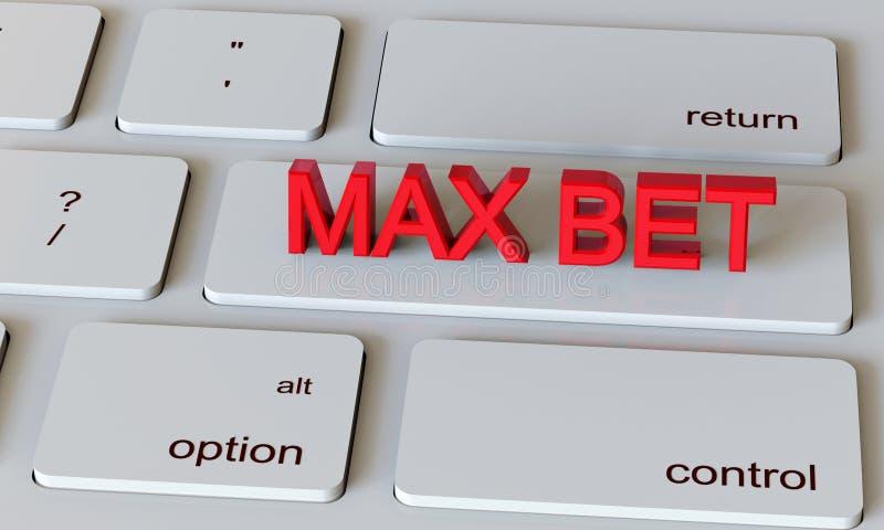 иллюстрация 3d представляет Клавиатура тетради компьютера с пари Макс - предпосылкой казино иллюстрация вектора