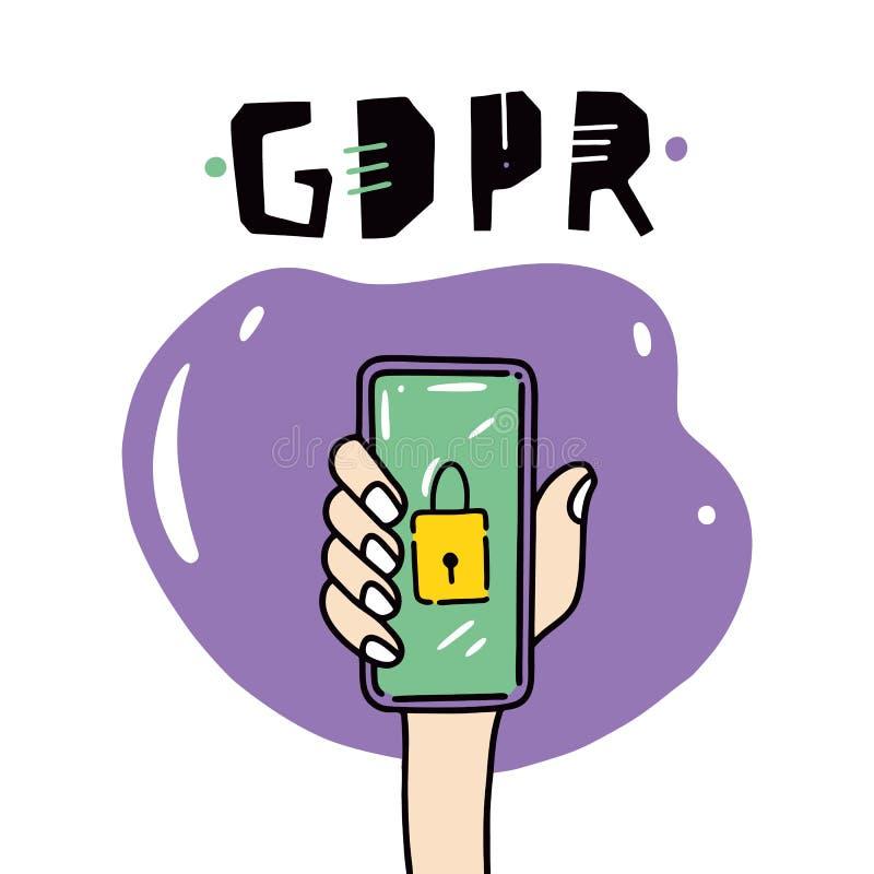 Иллюстрация GDPR Защита личных данных иллюстрация вектора