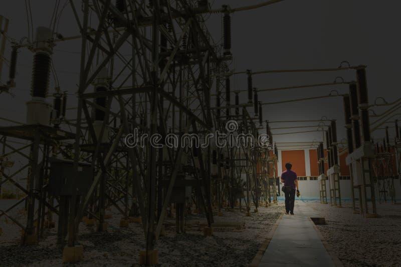 Инженерство идет для осмотра электрической системы в подстанции для ежегодного профилактического обслуживания путем использование стоковая фотография rf