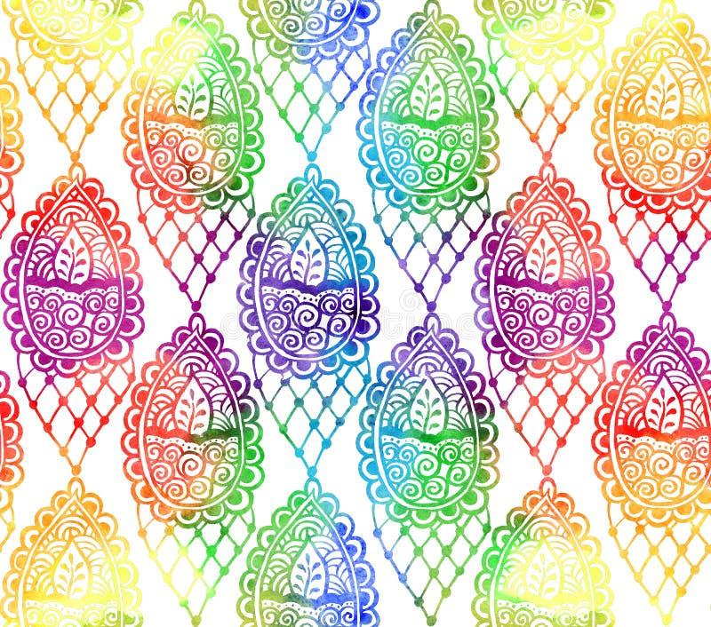 Индийская вертикаль косоугольника орнамента детали элемента сделала вручную с картиной акварели радуги безшовной иллюстрация штока