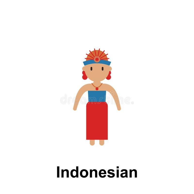 Индонезийский, значок мультфильма женщины Элемент людей значка цвета Наградной качественный значок графического дизайна знаки и бесплатная иллюстрация