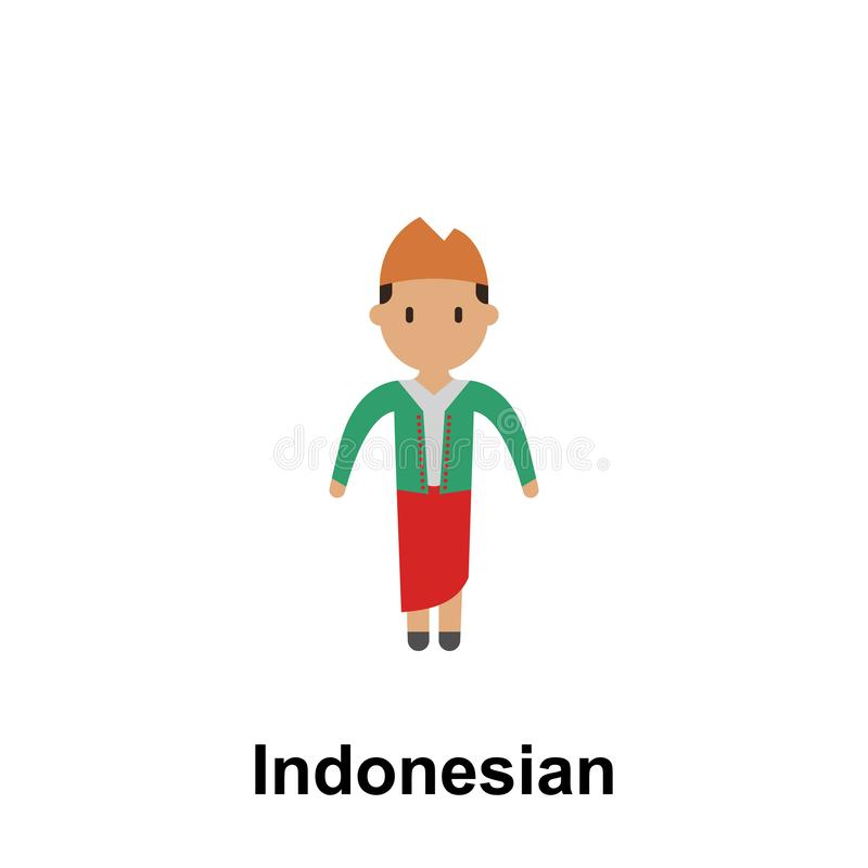 Индонезийский, значок мультфильма женщины Элемент людей значка цвета Наградной качественный значок графического дизайна знаки и иллюстрация вектора
