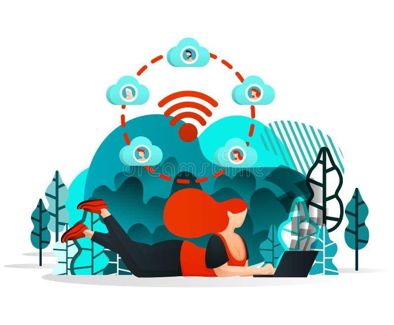 Интернет вещей, который нужно делить Девушка или люди могут работать с другом везде используя интернет и сеть Wifi Плоский стиль  иллюстрация вектора